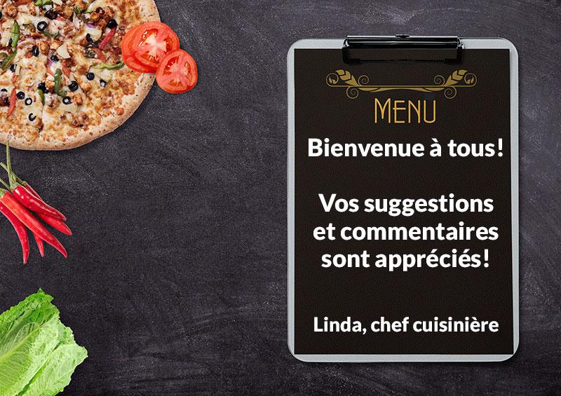 Menu Cafétéria CFPPA Centre de formation professionnelle Pavillon-de-l'Avenir Rivière-du-Loup BSL Kamouraska repas nourriture